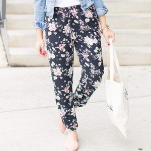 OLD NAVY Pink & Black Tropical Floral Joggers